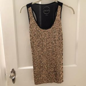 INC gold sequin tank top